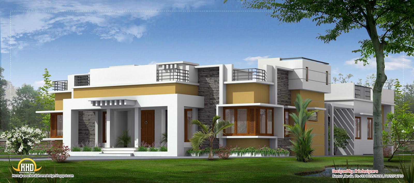 Beautiful single floor home 2910 sq ft kerala home for Single floor house