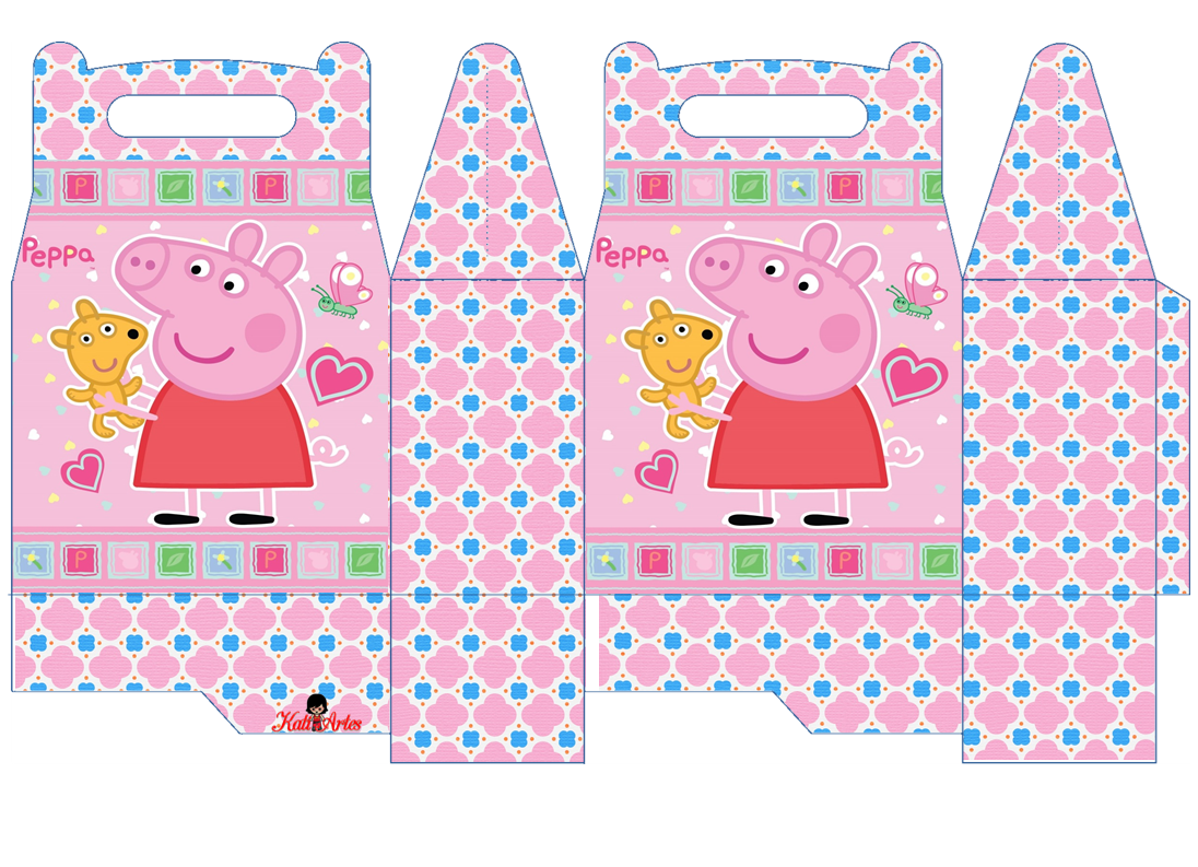 Peppa Pig con Perrito: Caja para Lunch, para Imprimir Gratis.