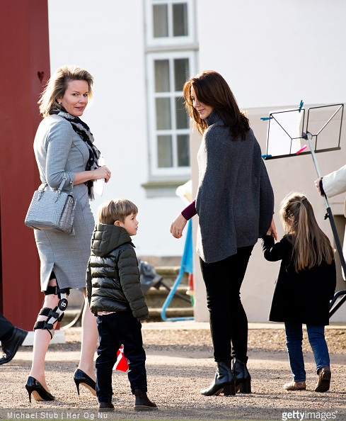 Queen Mathilde of Belgium, Crown Princess Mary of Denmark and her kids Vincent and Josephine during the morning greetings for the 75th birthday of the Danish Queen at Fredensborg Palace