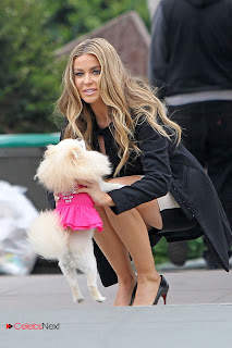 Carmen Electra Leggy Pictures in Short Dress Takes a Puppy for a Stroll in Los Angeles ~ Celebs Next