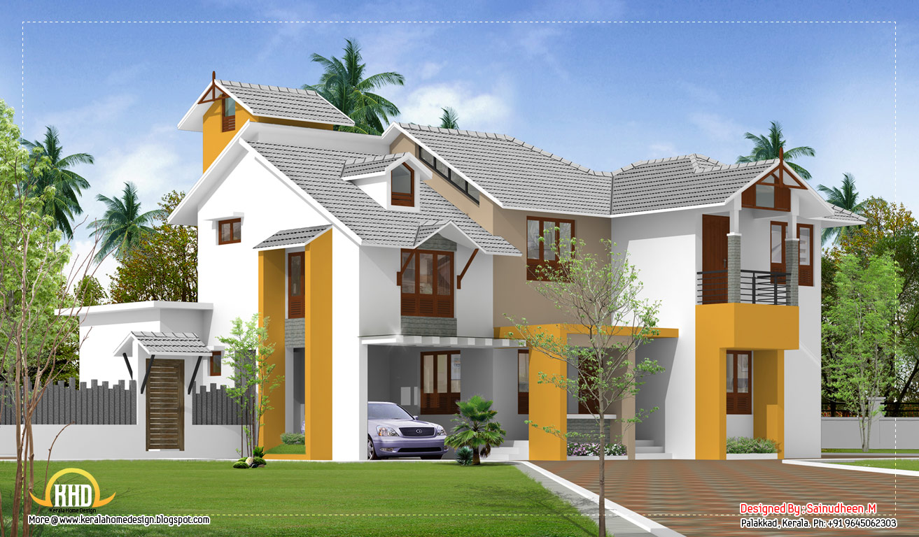 Modern kerala home design 2135 sq ft indian house plans for Kerala home designs contemporary