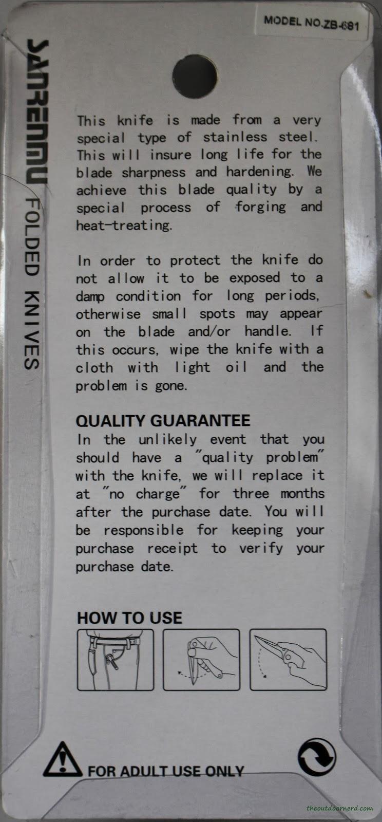 SanRenMu ZB-681 Pocket Knife - Package: Back
