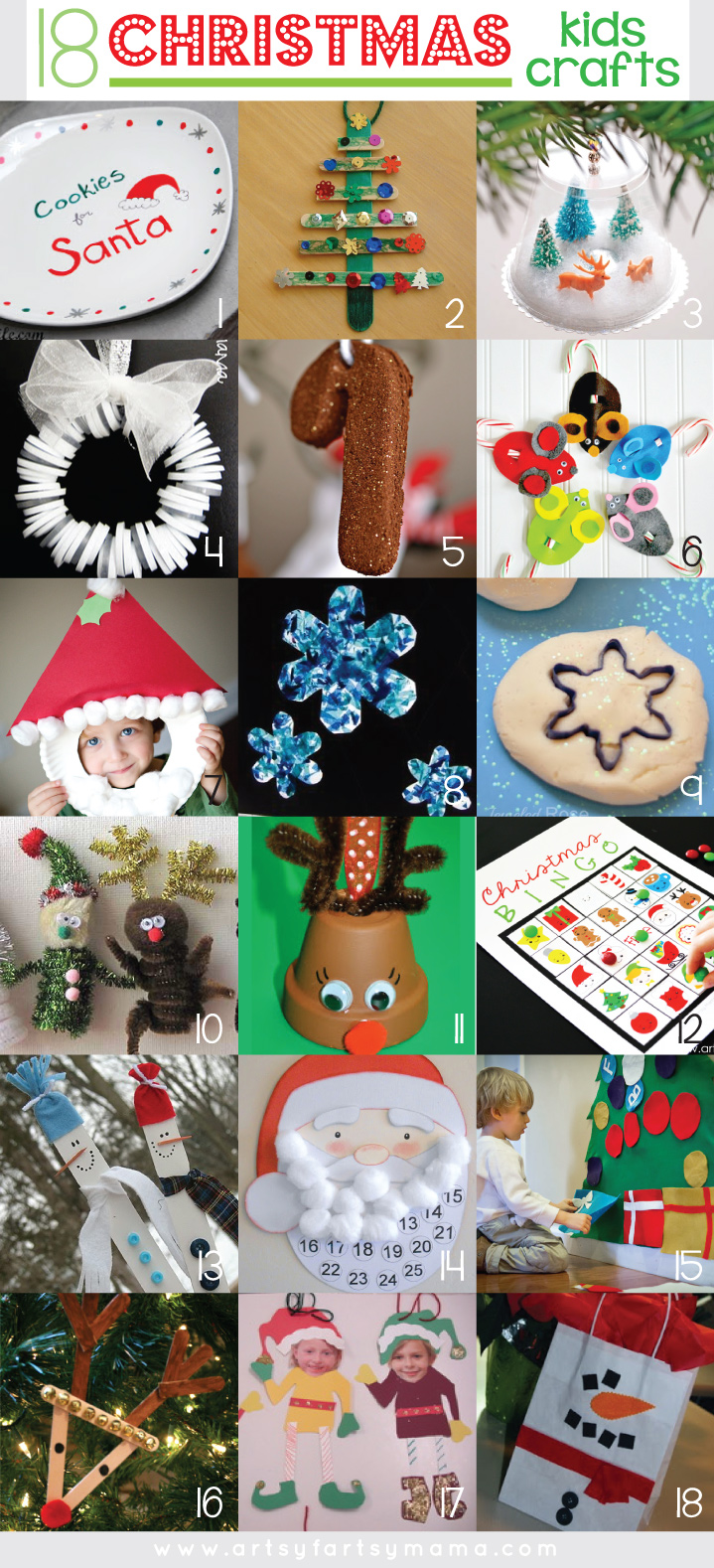18 Christmas Kids Crafts at artsyfartsymama.com #Christmas #kidscrafts