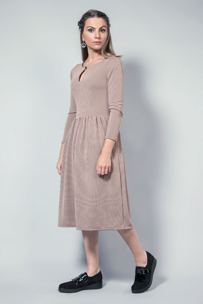 vestido midi otoño invierno tejido eslastico
