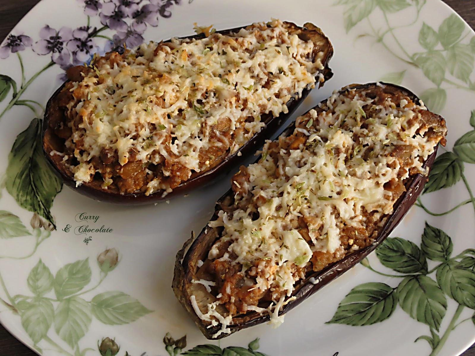 Berenjenas rellenas de carne picada - Stuffed eggplants with minced meat