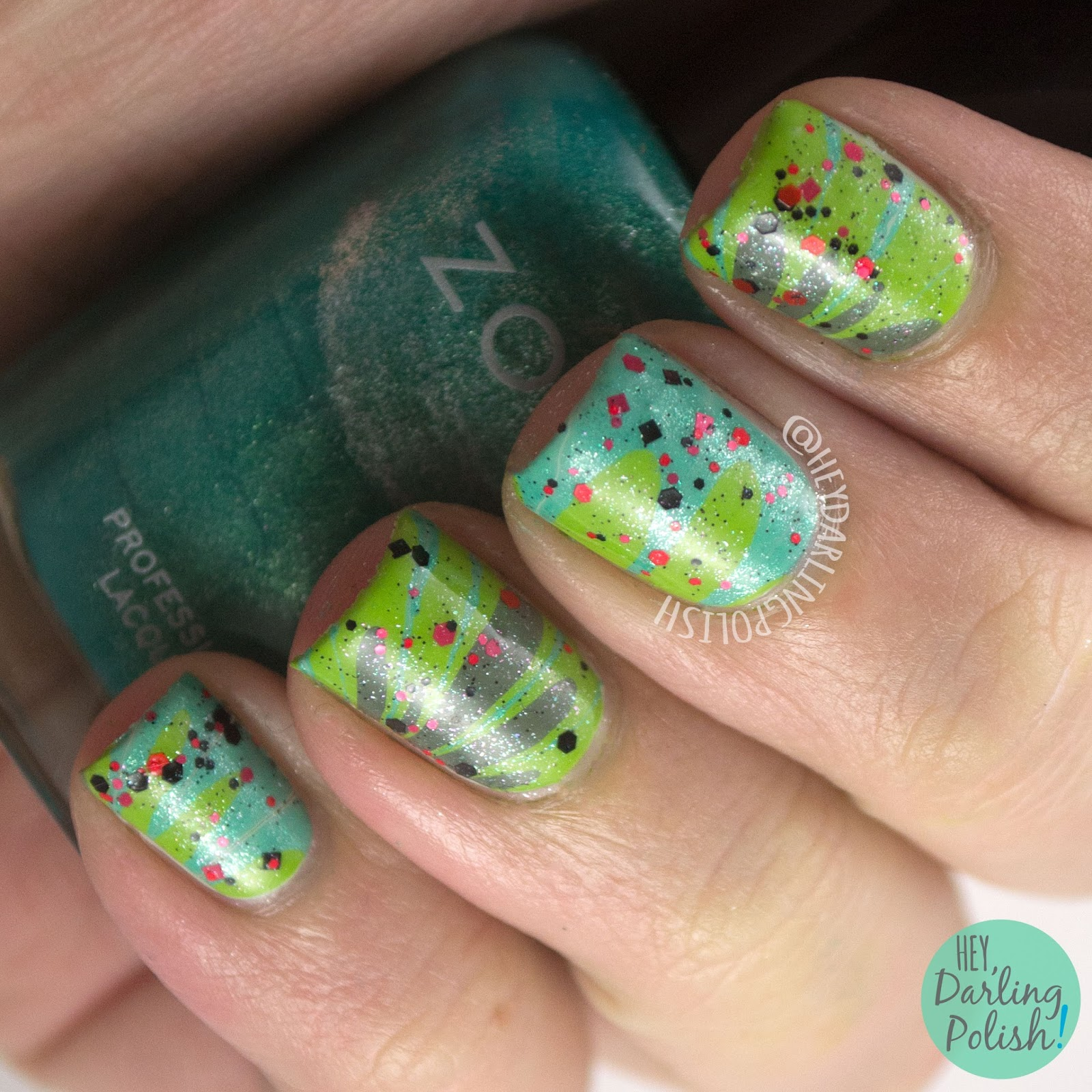 nails, nail art, nail polish, watermarble, glitter, indie, indie polish, zoya, hey darling polish, green, 31 day challenge, 31dc2014