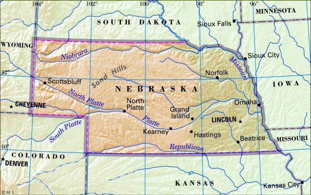 map of nebraska with cities. Antique maps of Nebraska show