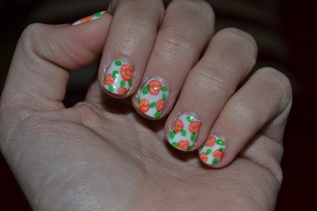 Orange Flower Nails by Elins Nails