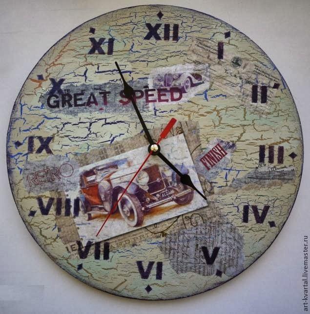 Декорирование часов с декупажем и кракелюром
