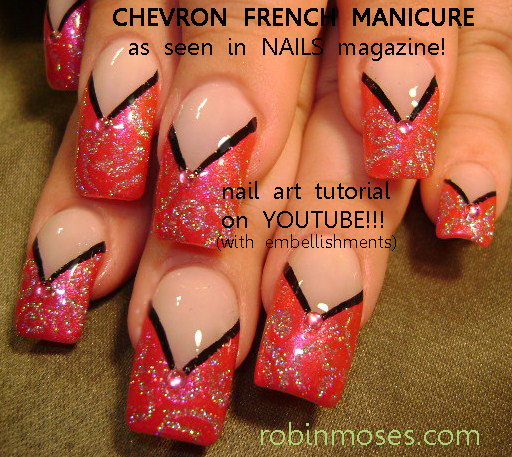 Robin moses nail art nails magazine august 2011 20 french nails magazine august 2011 20 french manicure adaptations by robin moses pink and black chevron nail art purple off center chevron nail art prinsesfo Gallery