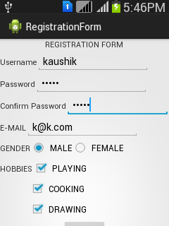 Simple Android Example: Registration form simple