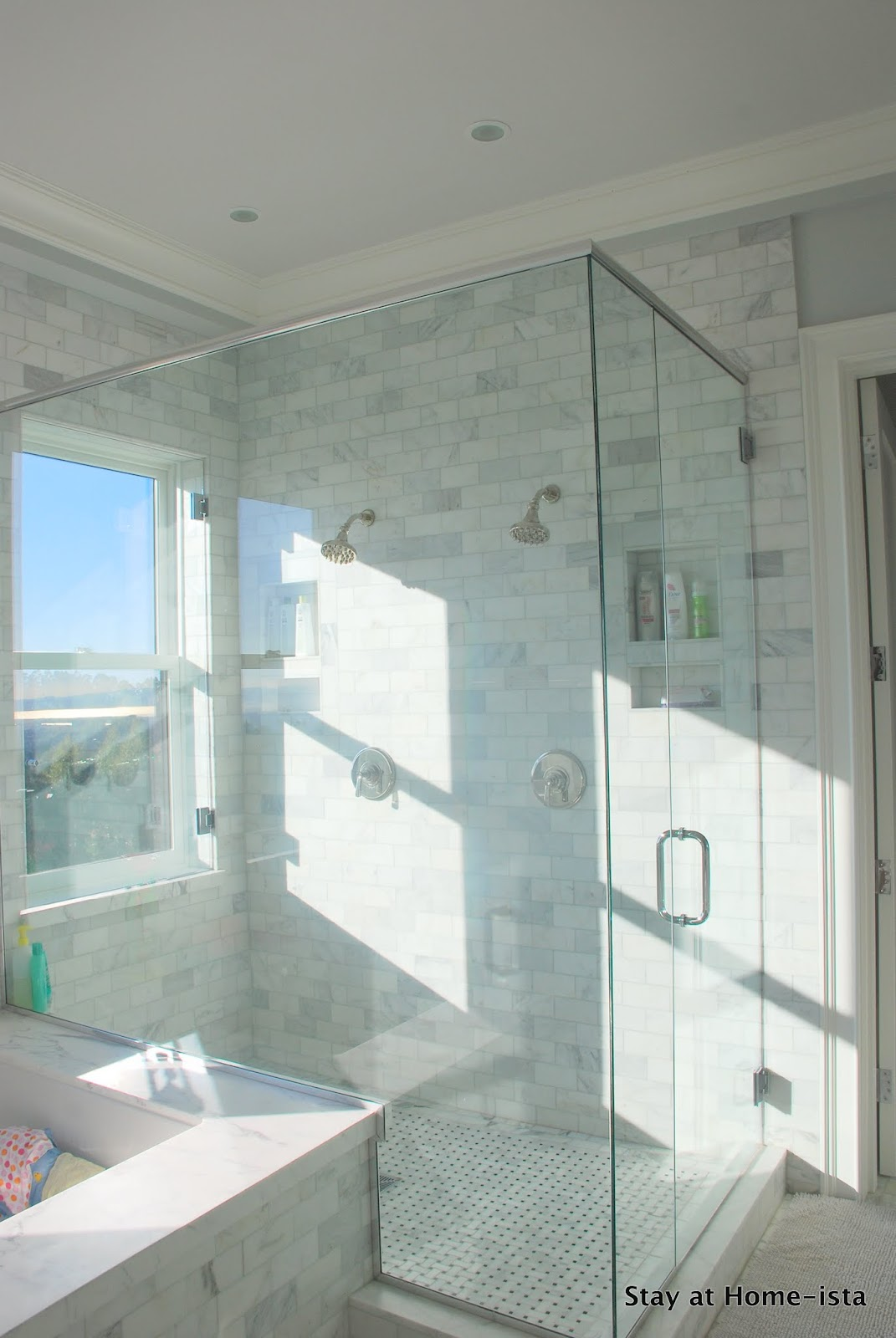 Remodelaholic marble master bathroom dream come true for Master bath windows