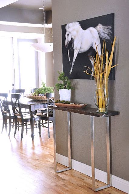 Remodelaholic wood chrome console table tutorial for Sofa table tutorial