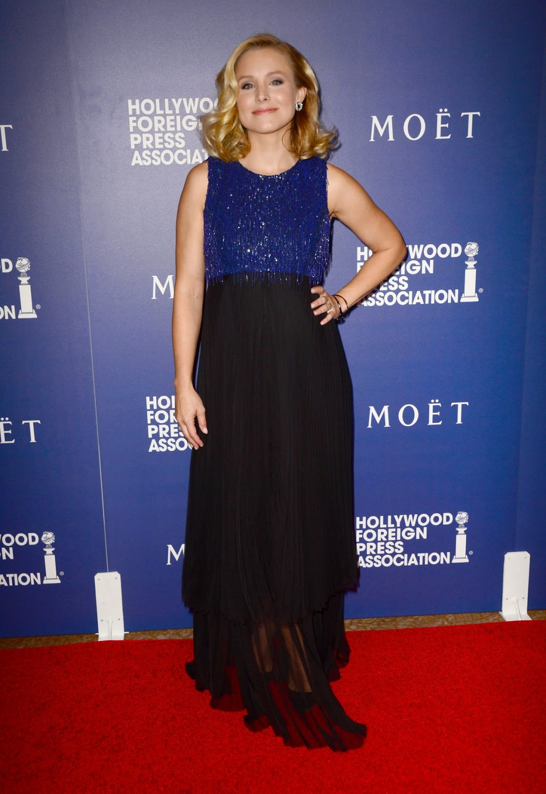 Kristen Bell is lovely in Andrew Gn at the 2014 Hollywood Foreign Press Association's Grants Banquet