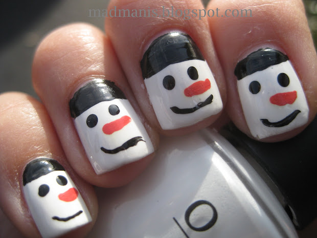 mad manis simple snowman nailart