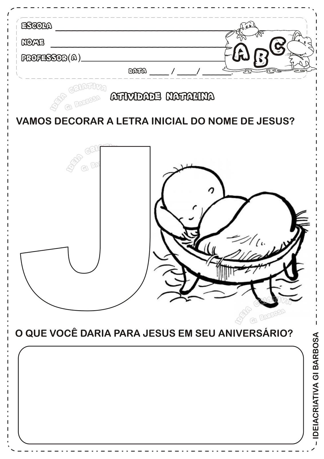 Preferência Atividade Letra J Natal Cristão Educação Infantil | Ideia Criativa  BM96