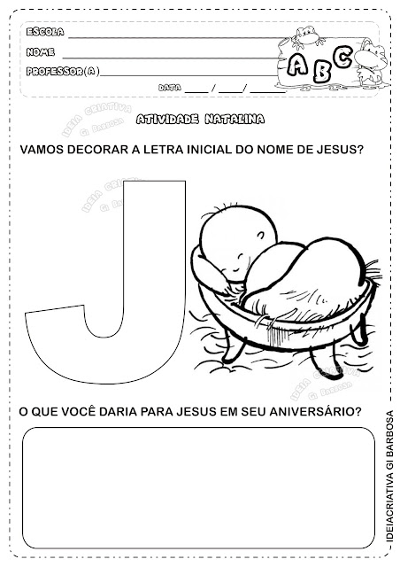 Atividade Letra J Natal Cristão Educação Infantil