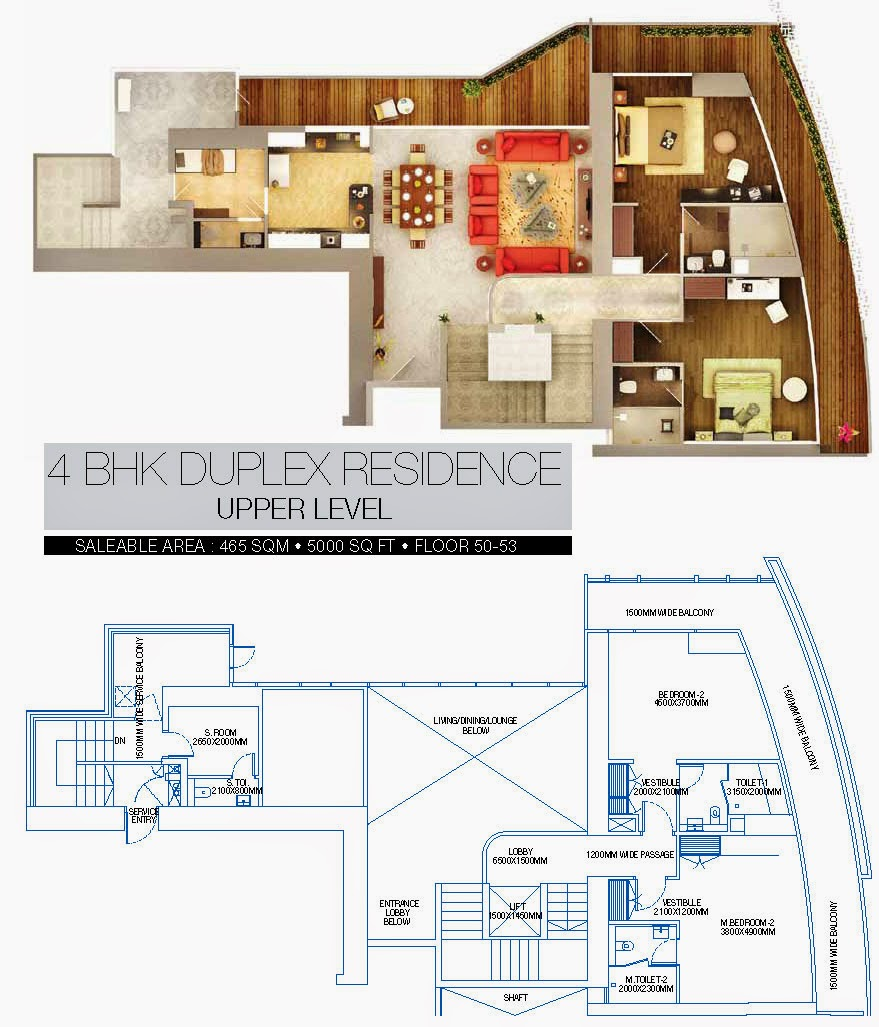 BRYS BUZZ :: Floor Plans 4 BHK Duplex Residence Upper level