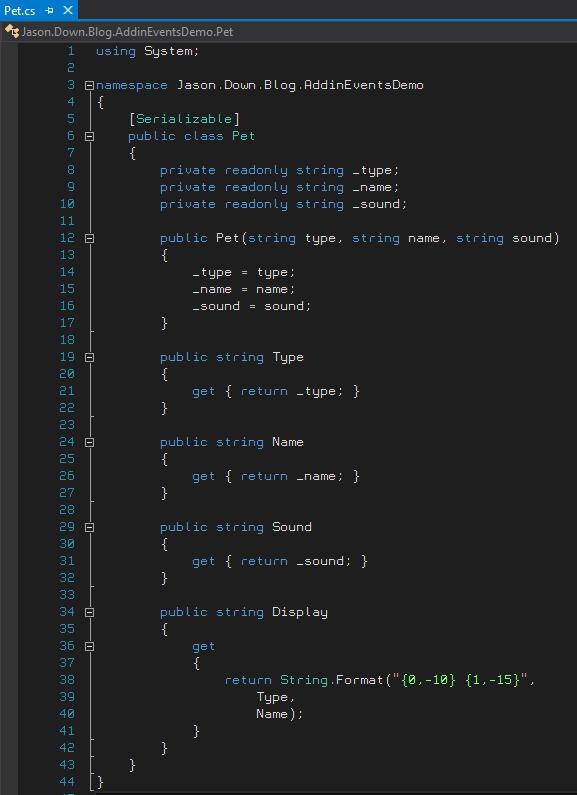 Pet Class in C#