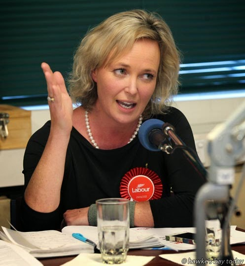 Anna Lorck, Labour Party candidate, Tukituki electorate, pictured at an election debate on Radio Kidnappers, Hastings, hosted by Andrew Austin, editor, Hawke's Bay Today photograph