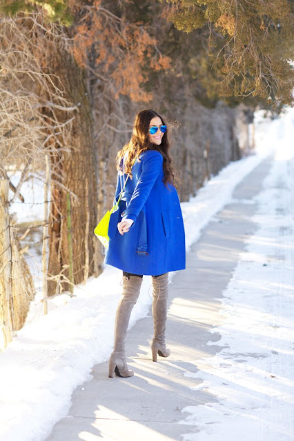 bright blue winter coat blogger style