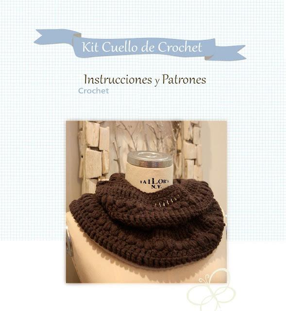 Kit, patrón e instrucciones cuello de crochet