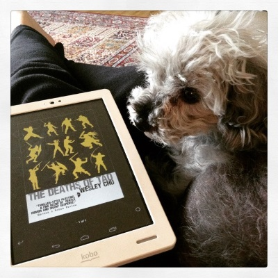 Murchie lays on a lap clad in black sweatpants. His rear is closest to the camera and his head is twisted so his face is in profile with his ears perked. Beside him is a white Kobo with The Deaths of Tao's cover on its screen. It features a grid of twelve yellow silhouettes, most of them male-coded, brandishing weapons against a black background.