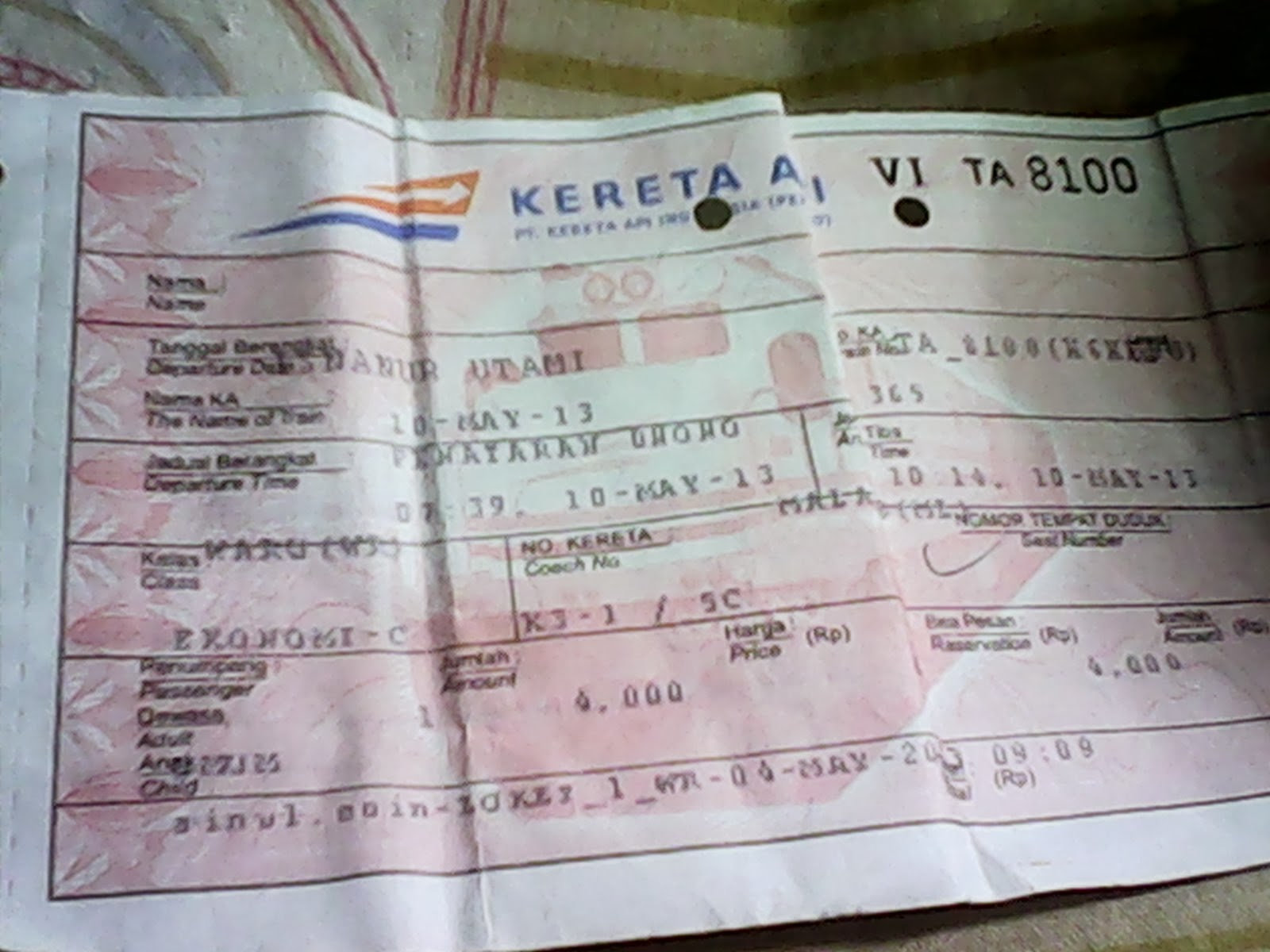 Tiket KA penataran yang dibeli di Stasiun Waru
