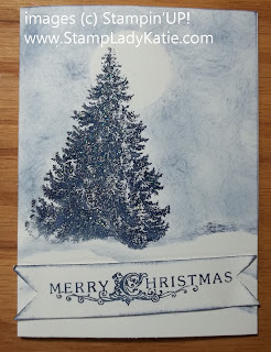 Card made with Stampin'UP stamp set called: Christmas Lodge, banner tail made with a square punch