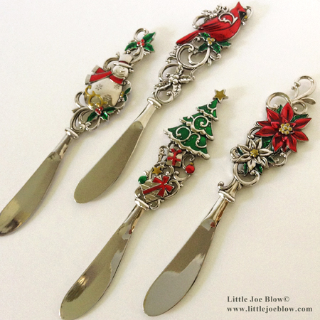 Holiday | Christmas Cheese Butter Knives | Snowman, Christmas Tree, Poinsettia, Cardinal - sold on http://littlejoeblow.com/HOLIDAY-knives.html by Little Joe Blow Ind.