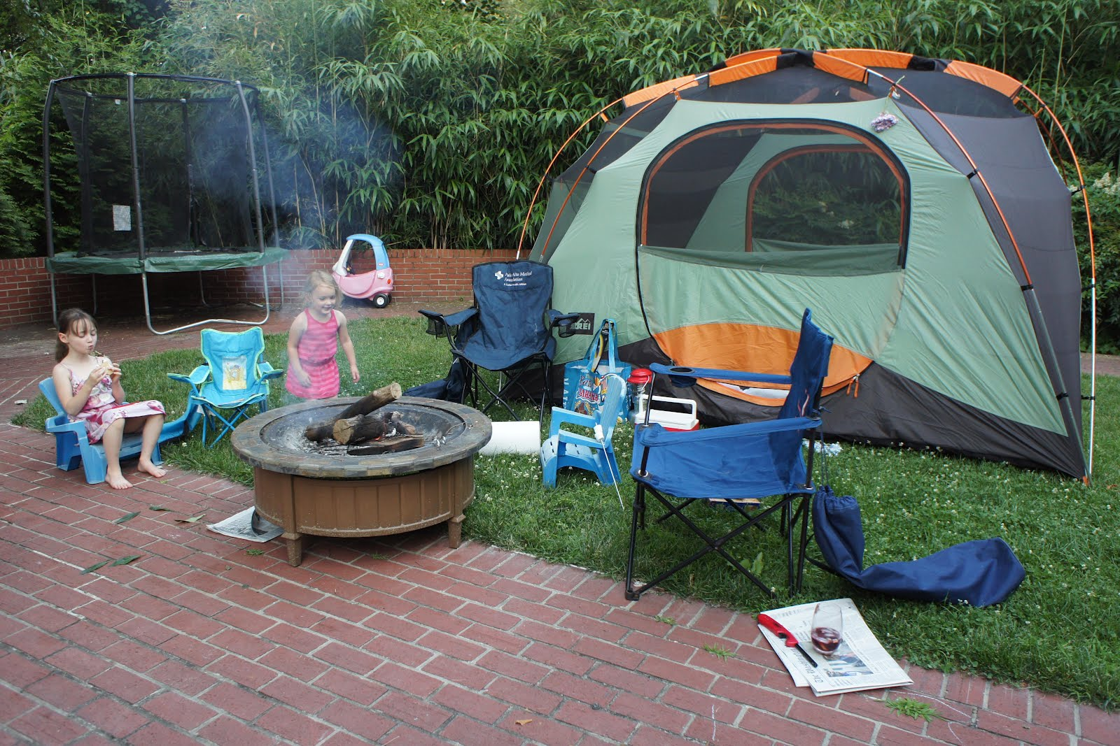 Camping In The Backyard Highlights : Ah, their favorite part of camping has arrived Smores!