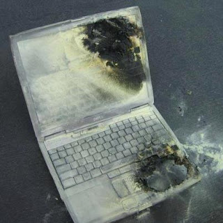 Fire was caused by the laptop resting on the bed