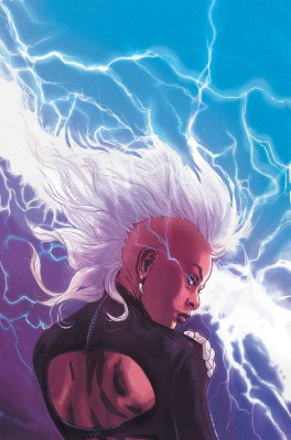 Illustration of a black woman with a white Mohawk. She has her back to the viewer, but her head is turned so her face appears in profile. Lightning arcs across the sky behind her.