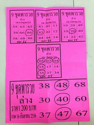 Thailand Lottery Tips 16 September 2013