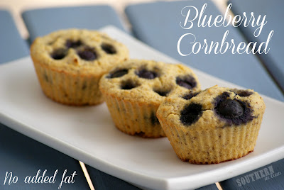 Healthy Sweet Cornbread Recipe with Blueberries - Gluten Free, Low Fat, Vegan