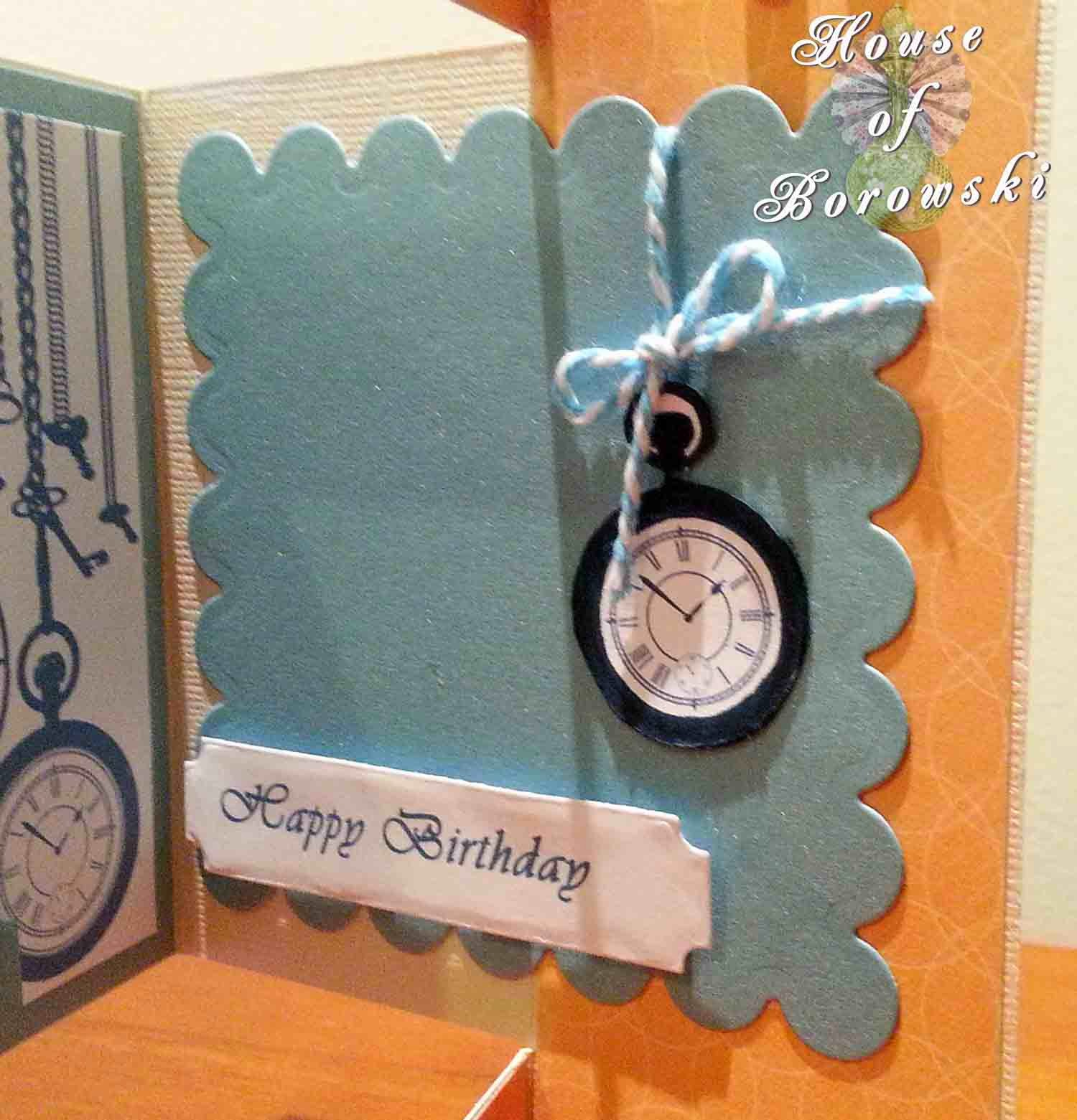 Perfectly Rustics, HOB, Tri-fold shutter card, bugaboo, Spellbinders, taylored impressions, vintage pocket watch, DCWV citrus stack.