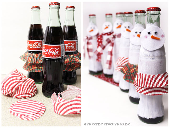 creating skirt from cupcake liners for snow woman bottle craft