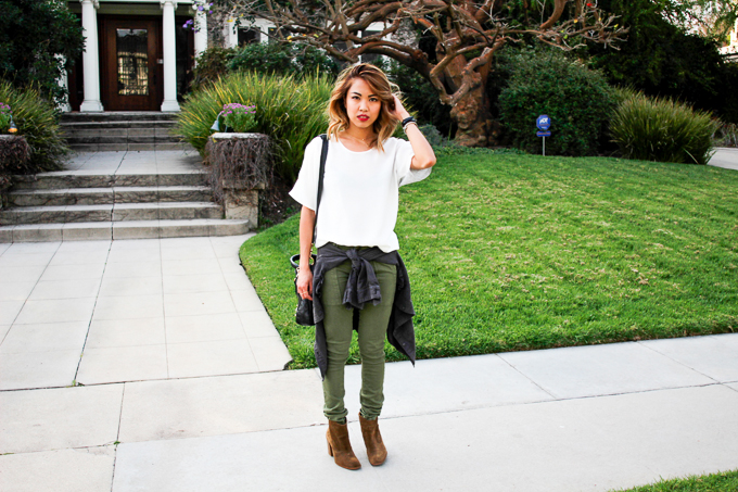 J Crew White blouse, Current/Elliot Army pants, Balenciaga Gold Town Arena, Daniel Wellington Classic Sheffield, beautybitten