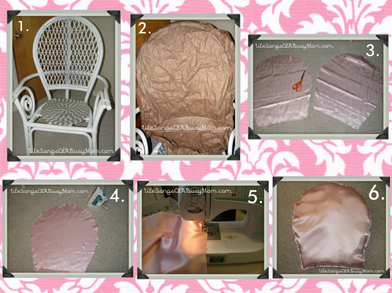 The white wicker chair minus the pink seat cushion
