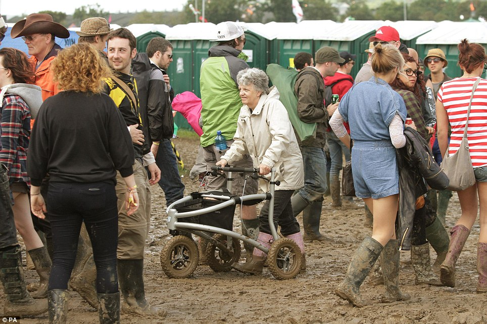 So Glastonbury fans really are getting older! Gran proves she's no stick in the mud