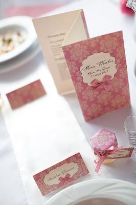 menu, winietki róż pudrowy