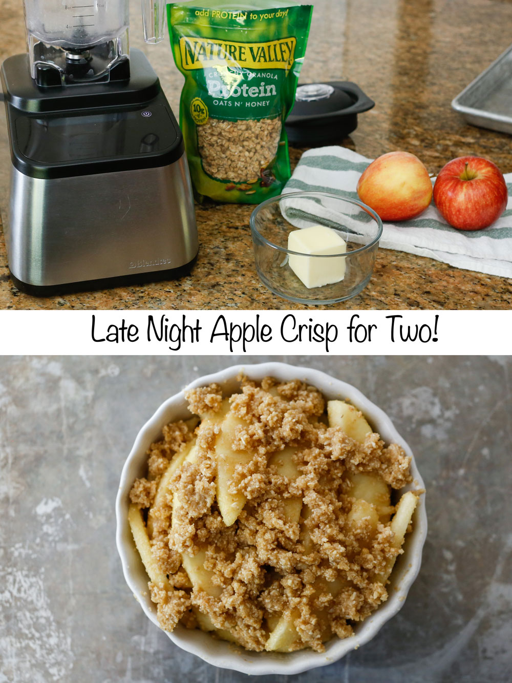 Late Night Apple Crisp {for two} with just four ingredients! - get the recipe at barefeetinthekitchen.com