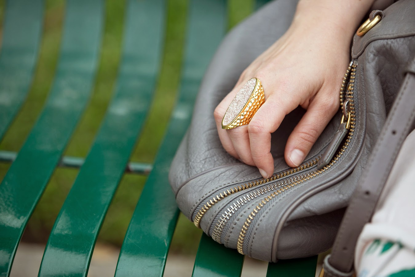 Vested in Denim: Gold + Pink Statement Ring via @lucismorsels