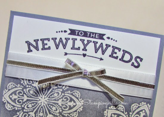 Whisper White Satin Ribbon + Silver Metallic Ribbon edged in white are so elegant for wedding cards.