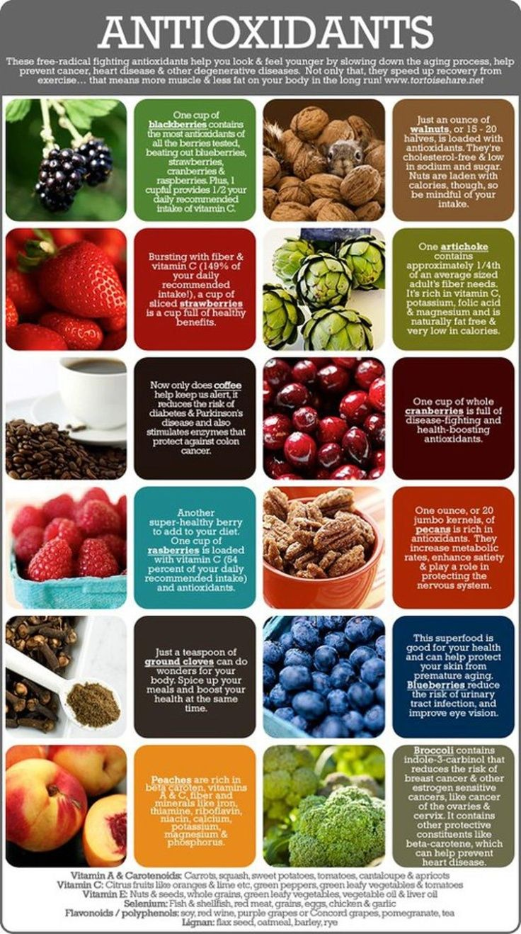 Consumo de alimentos antioxidantes para combatir los radicales libres