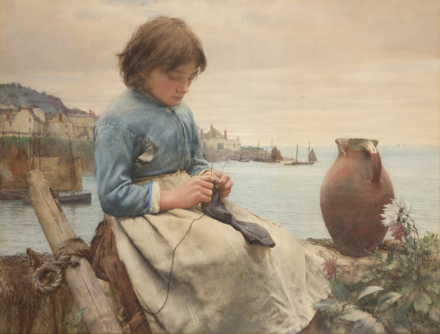 Walter Langley Knitting
