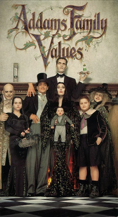 Addams Family Values movie poster, official, Wednesday Addams, Morticia, Gomez, Pugsley, Fester, Thing, Lurch