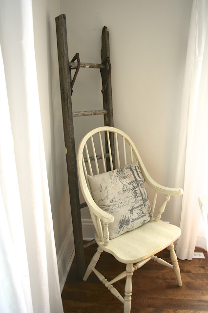 Antique Ladder - Budget Living Room / Dining Room Makeover Reveal! - Nest of Bliss