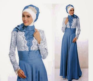 Alisha Maxi Dress - Maxi Bahan satin Kombinasi Brukat + Pashmina