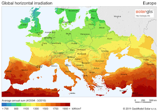 Solar Radiation Map for Europe - Solar Energy Farms